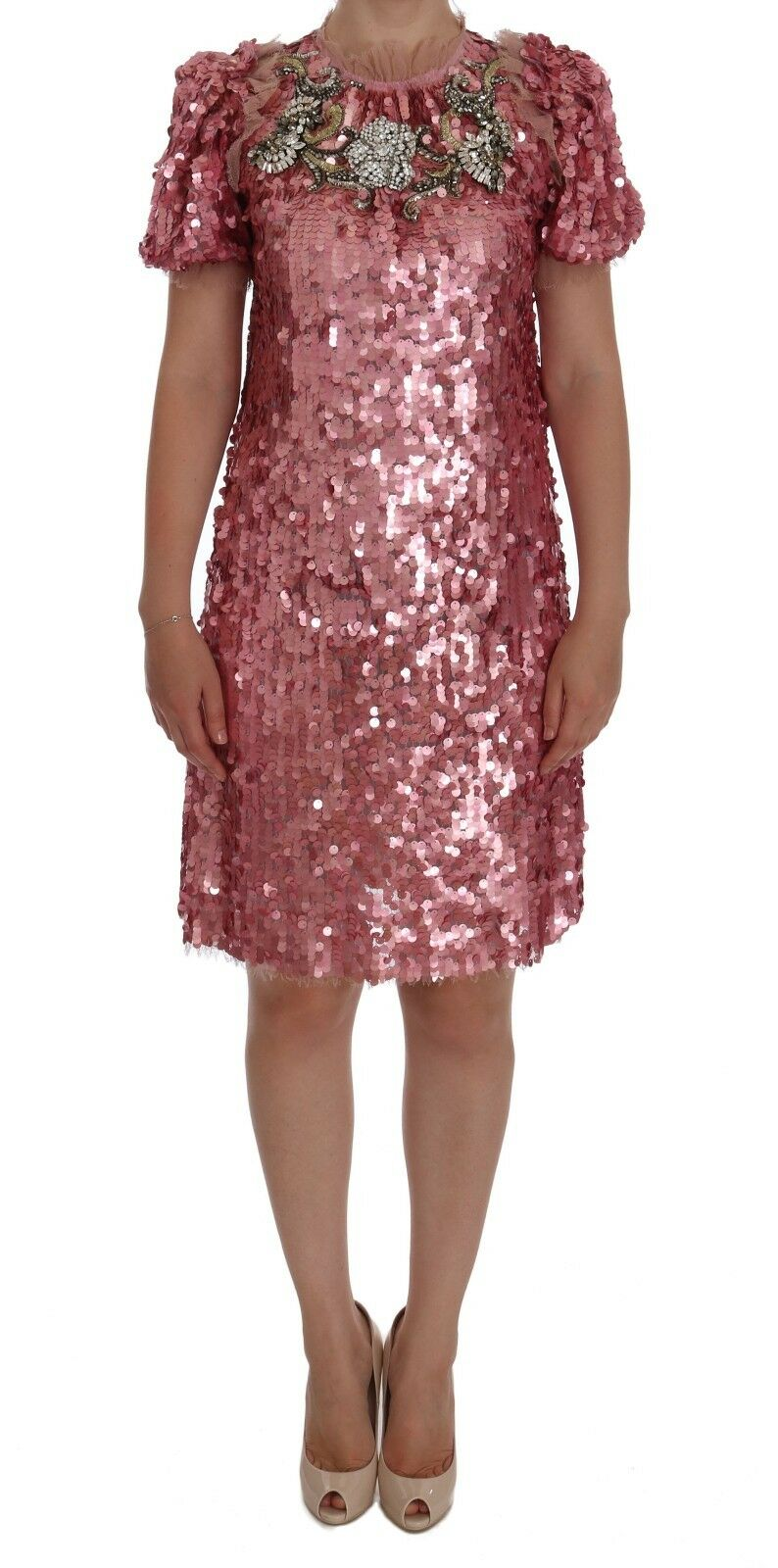 Dolce & Gabbana Women's Sequined Crystal Shift Dress Pink DR1012 - IT40|S