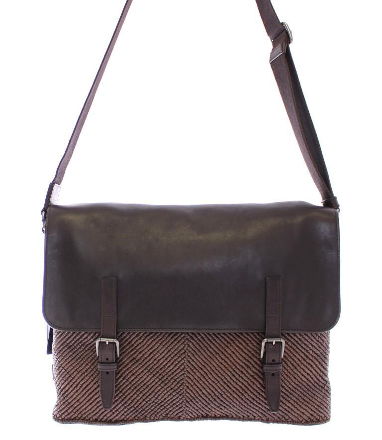 Dolce & Gabbana Men's leather Messenger Bag Brown MOM10300