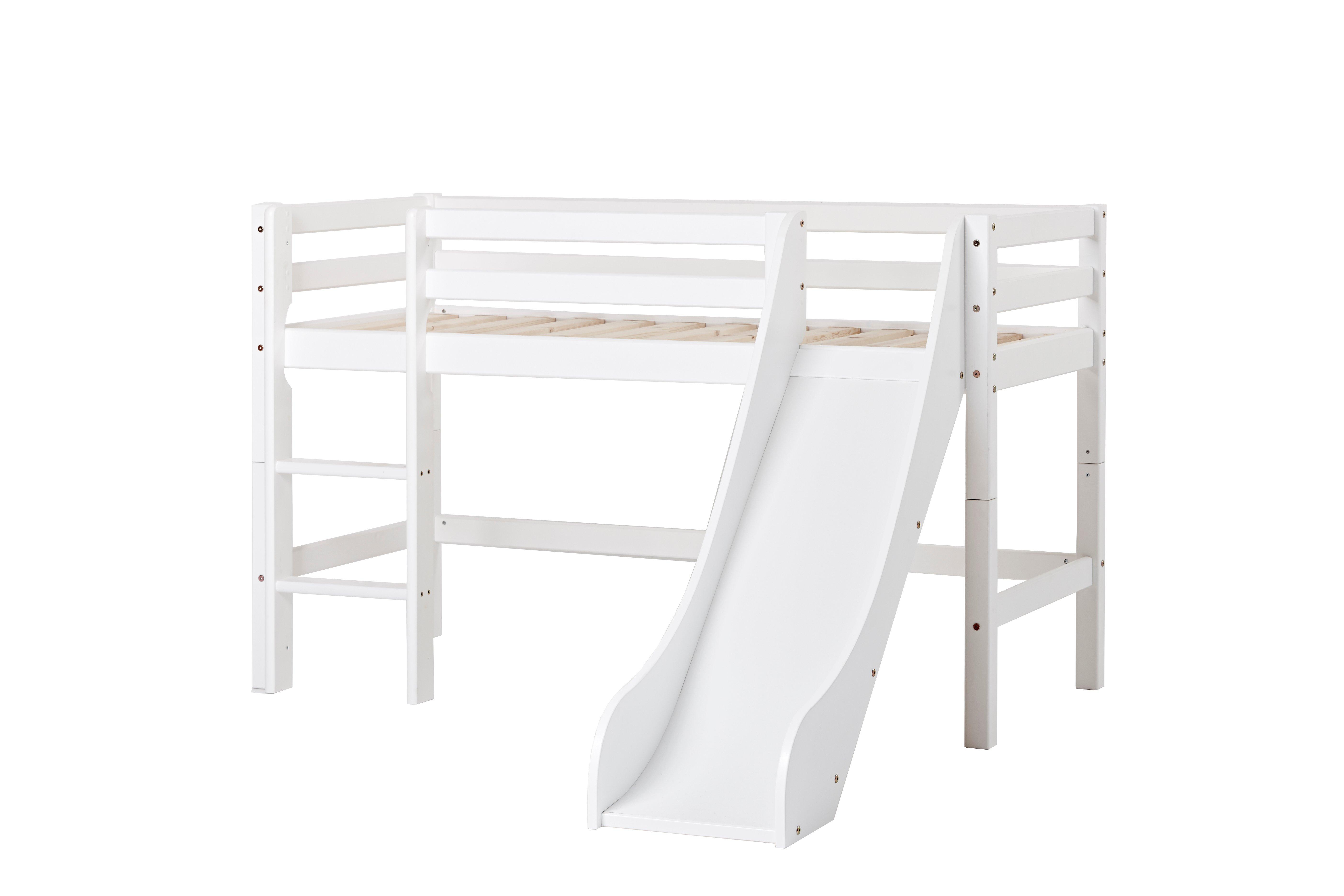 Hoppekids - BASIC Half-high bed with slide 70x160 cm - White