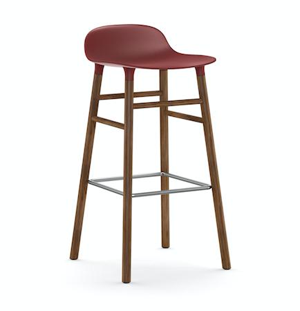 Form Barstol Rød/Valnøtt 75 cm