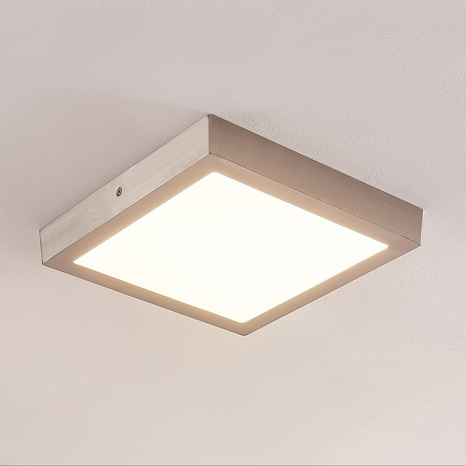 ELC Merina LED-taklampe nikkel, 30x30cm