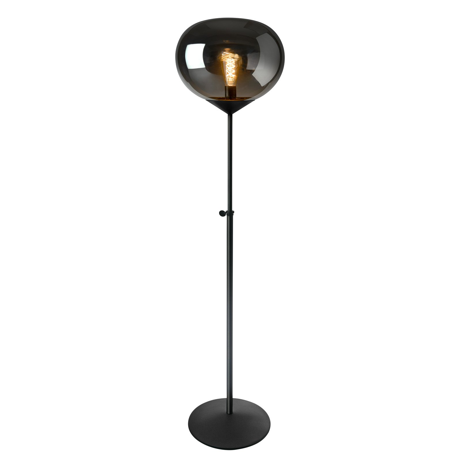 Gulvlampe Drop, røyklass, justerbar høyde