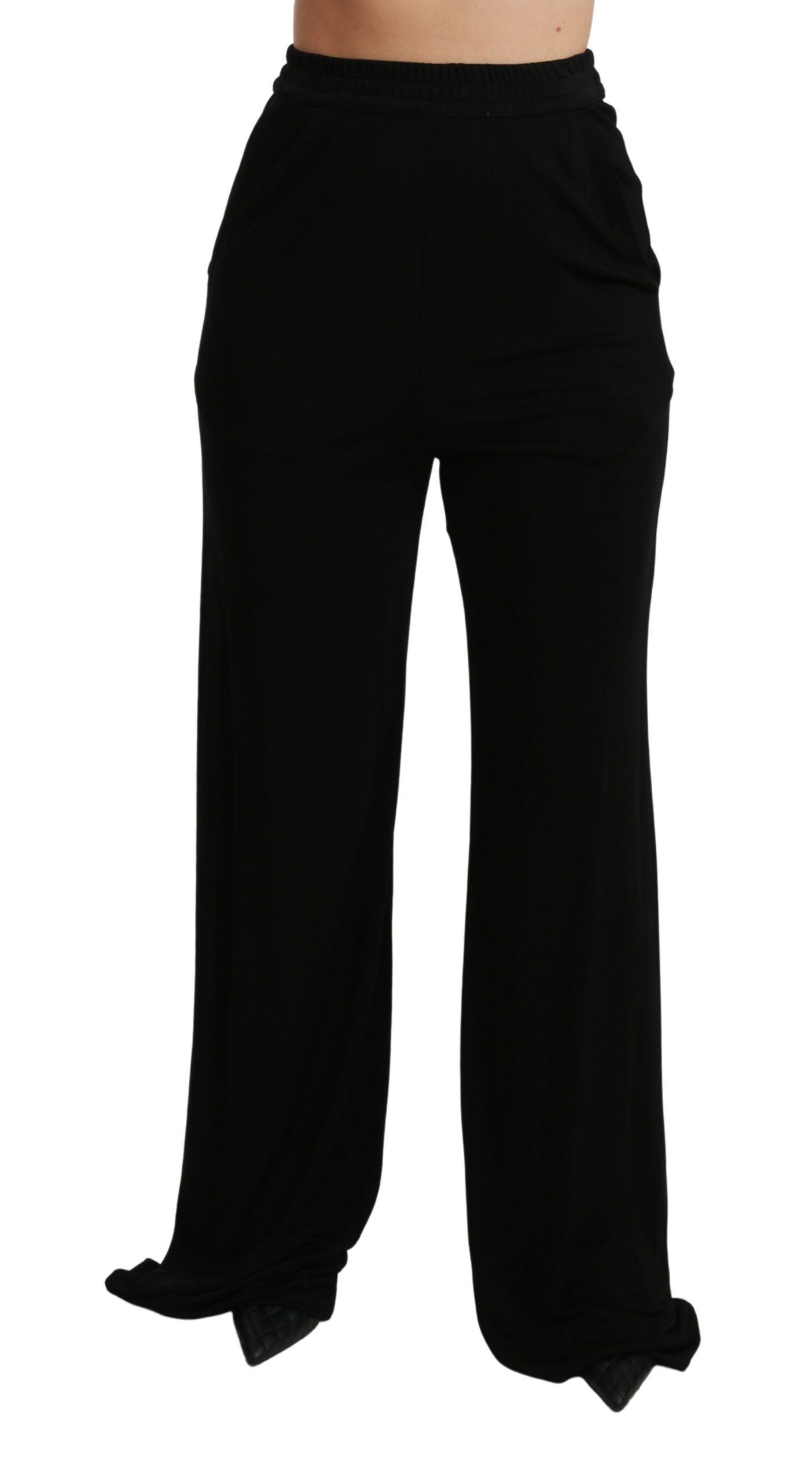 Dolce & Gabbana Women's Wide Leg High Waist Trouser Black PAN70947 - IT40|S