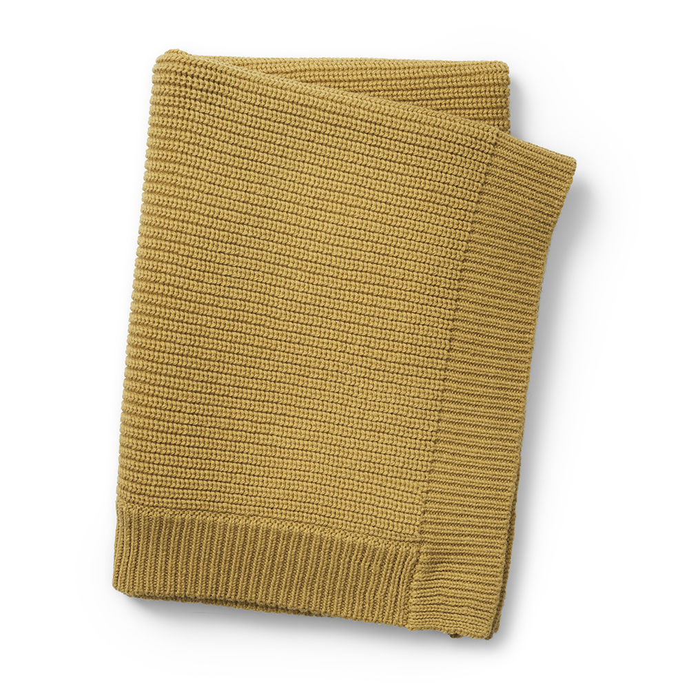 Wool Knitted Blanket - Gold