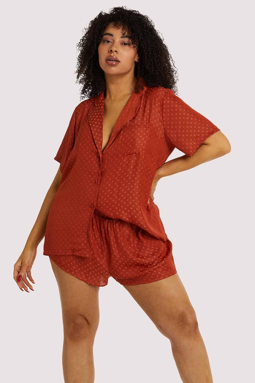 Wolf & Whistle Rust Spot Satin Pyjama Set UK 10 / US 6