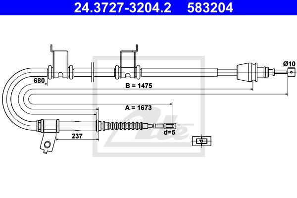 Käsijarruvaijeri ATE 24.3727-3204.2