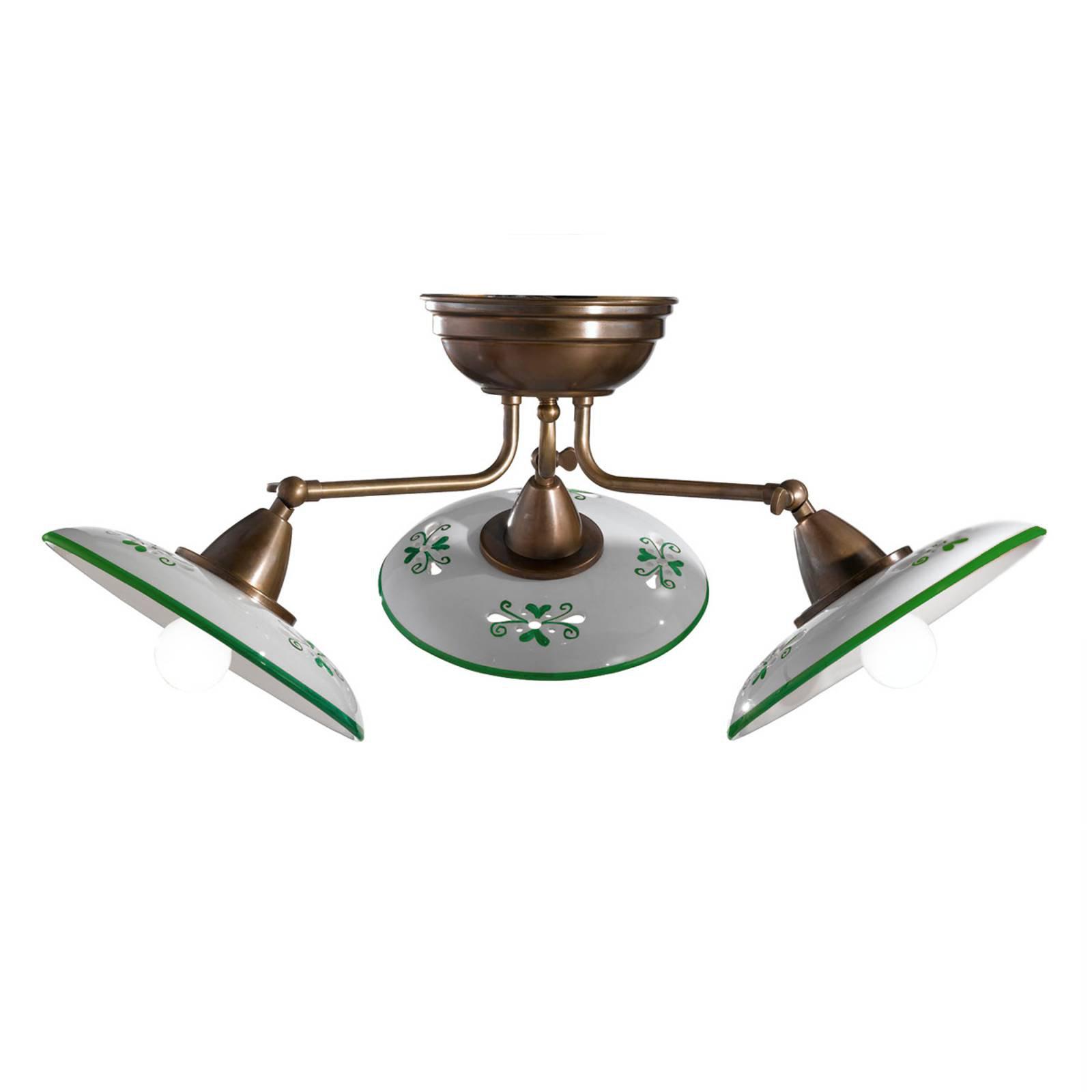 Bassano - 3 lyskilder keramisk taklampe, grønn