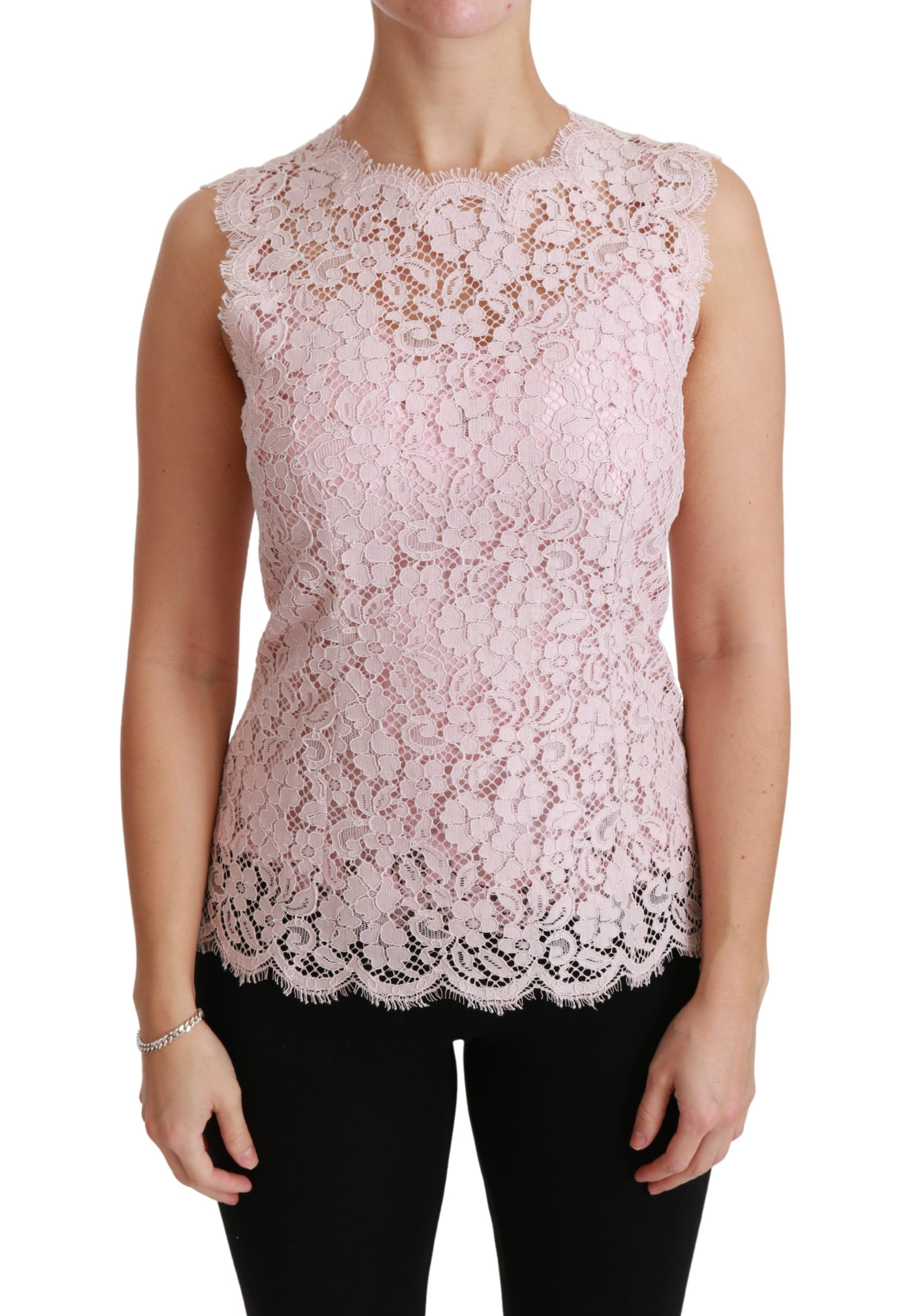 Dolce & Gabbana Women's Lace Sleeveless Cotton Top Pink TSH4398 - IT40 S