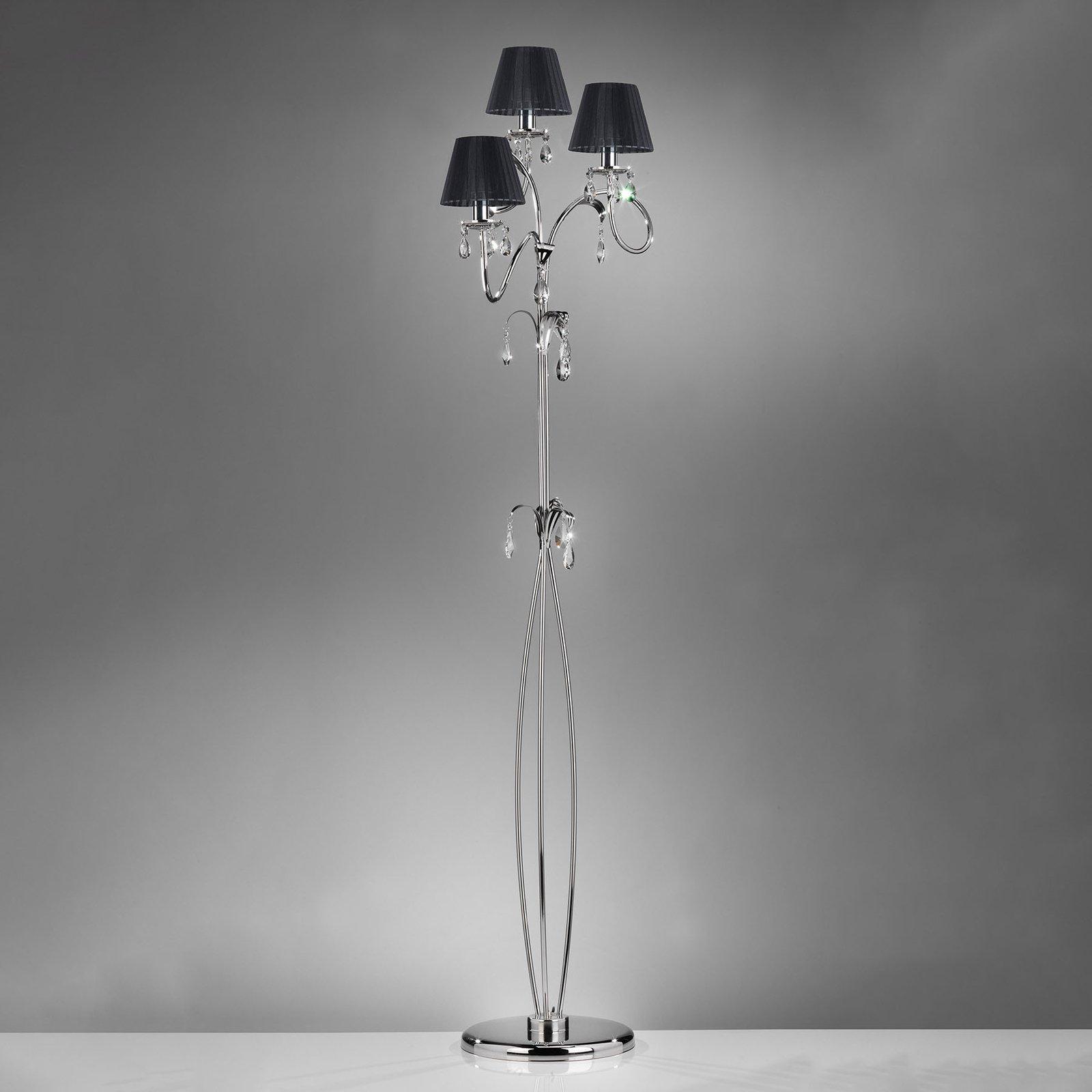 Gulvlampe Jacqueline, 3 lyskilder, svart