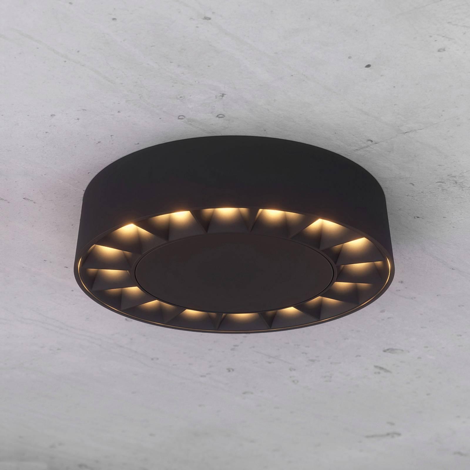 Lucande Kelissa-LED-ulkokattovalaisin musta pyöreä