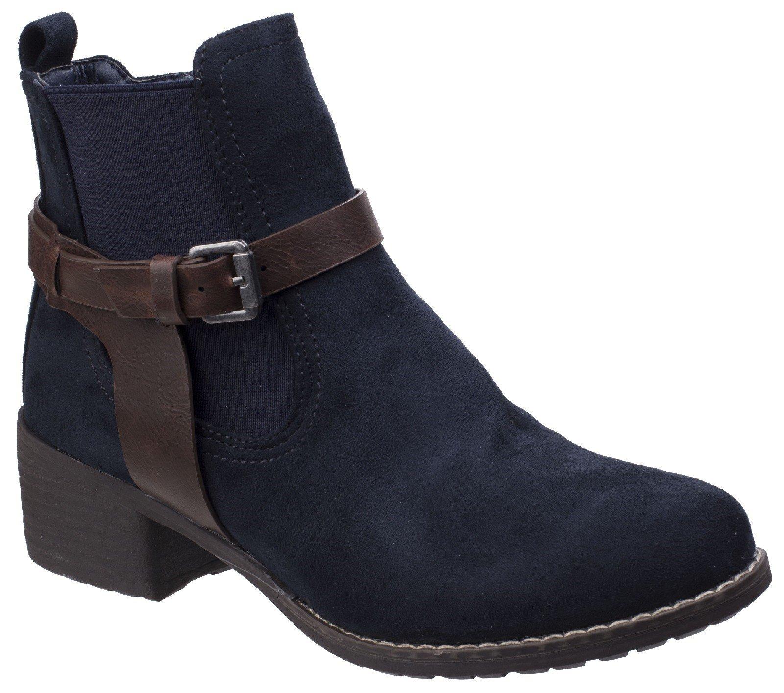 Divaz Women's Ivana Block Heel Ankle Boot Black 25570-42562 - Navy 4