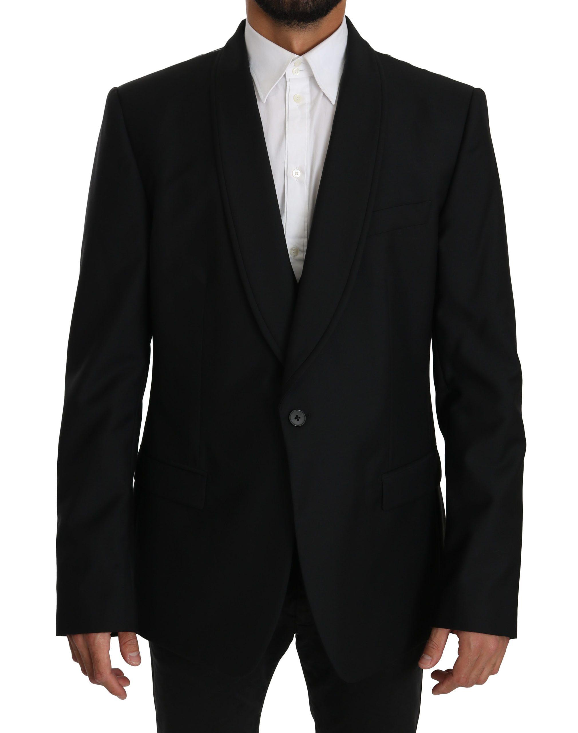 Dolce & Gabbana Men's Wool Two Piece Vest Blazer Black KOS1601 - IT56 | XXL
