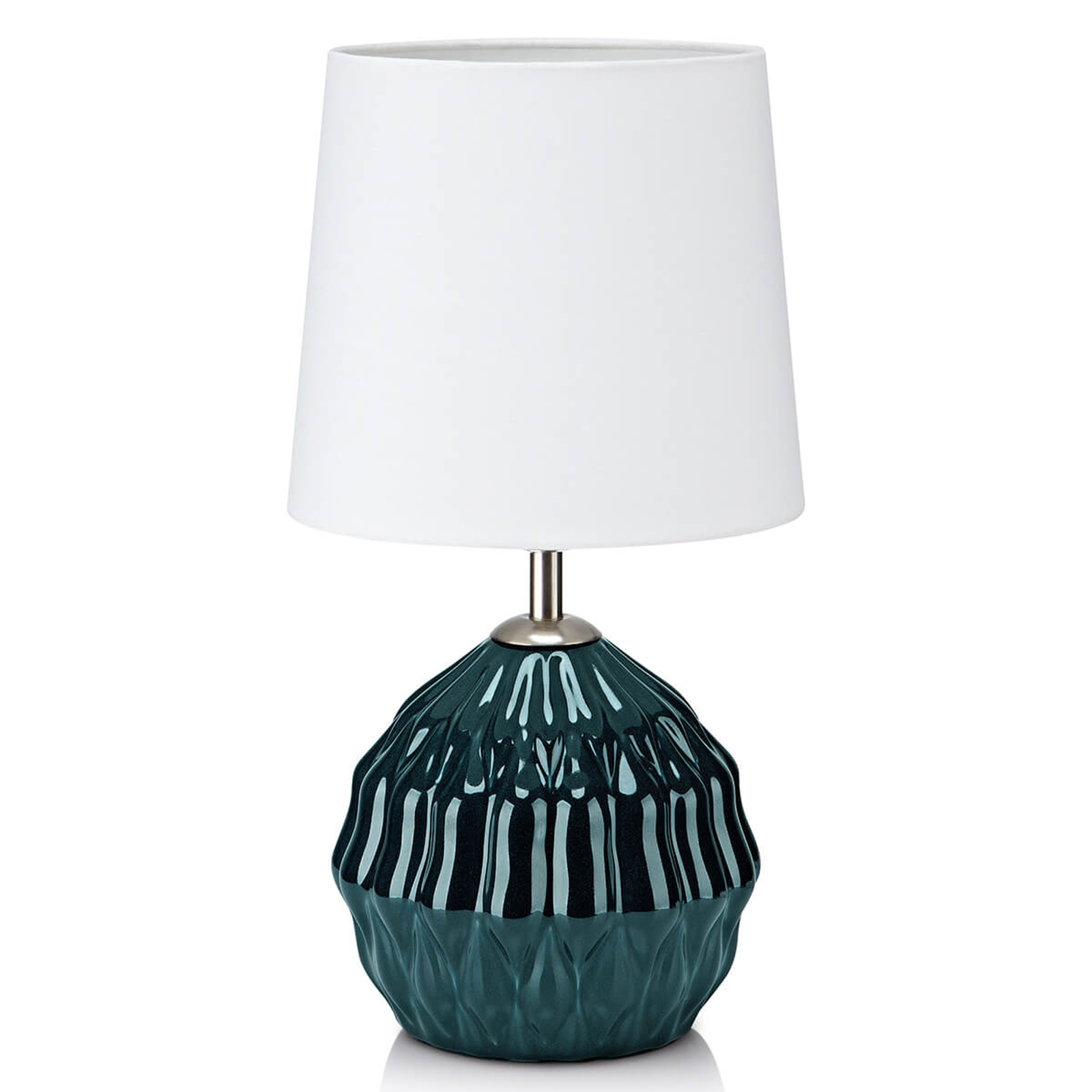Vihreä keramiikkajalka - tekstiilipöytälamppu Lora
