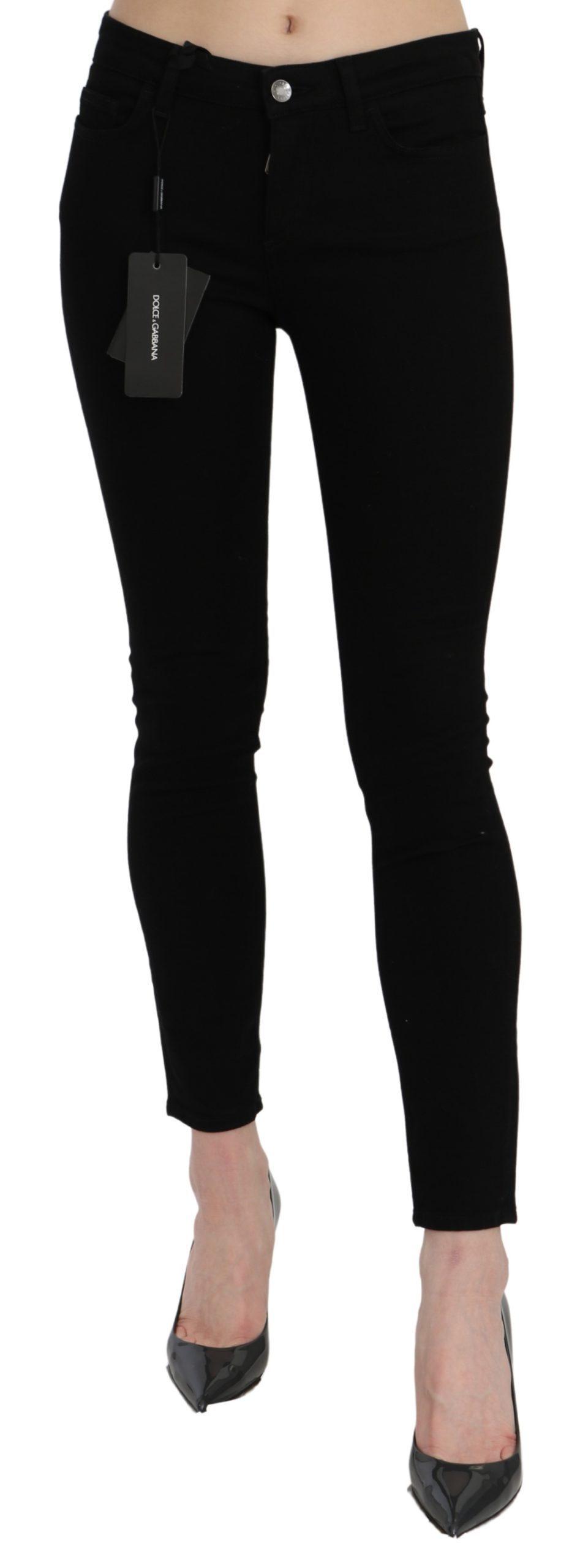 Dolce & Gabbana Women's Mid Waist Skinny Cotton Jeans Black PAN71074 - IT38 | XS