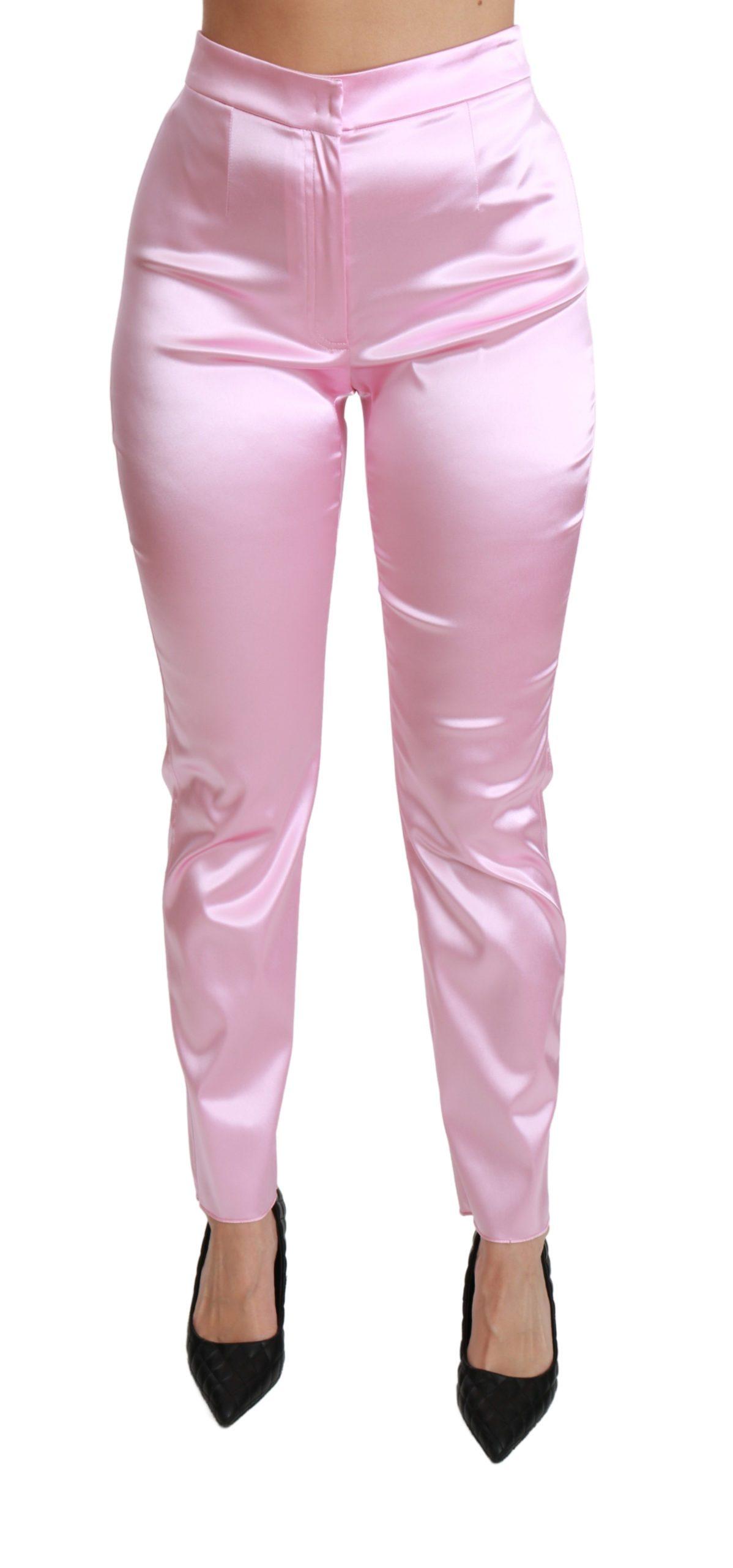 Dolce & Gabbana Women's Metallic High Waist Skinny Trouser Pink PAN70816 - IT44 L