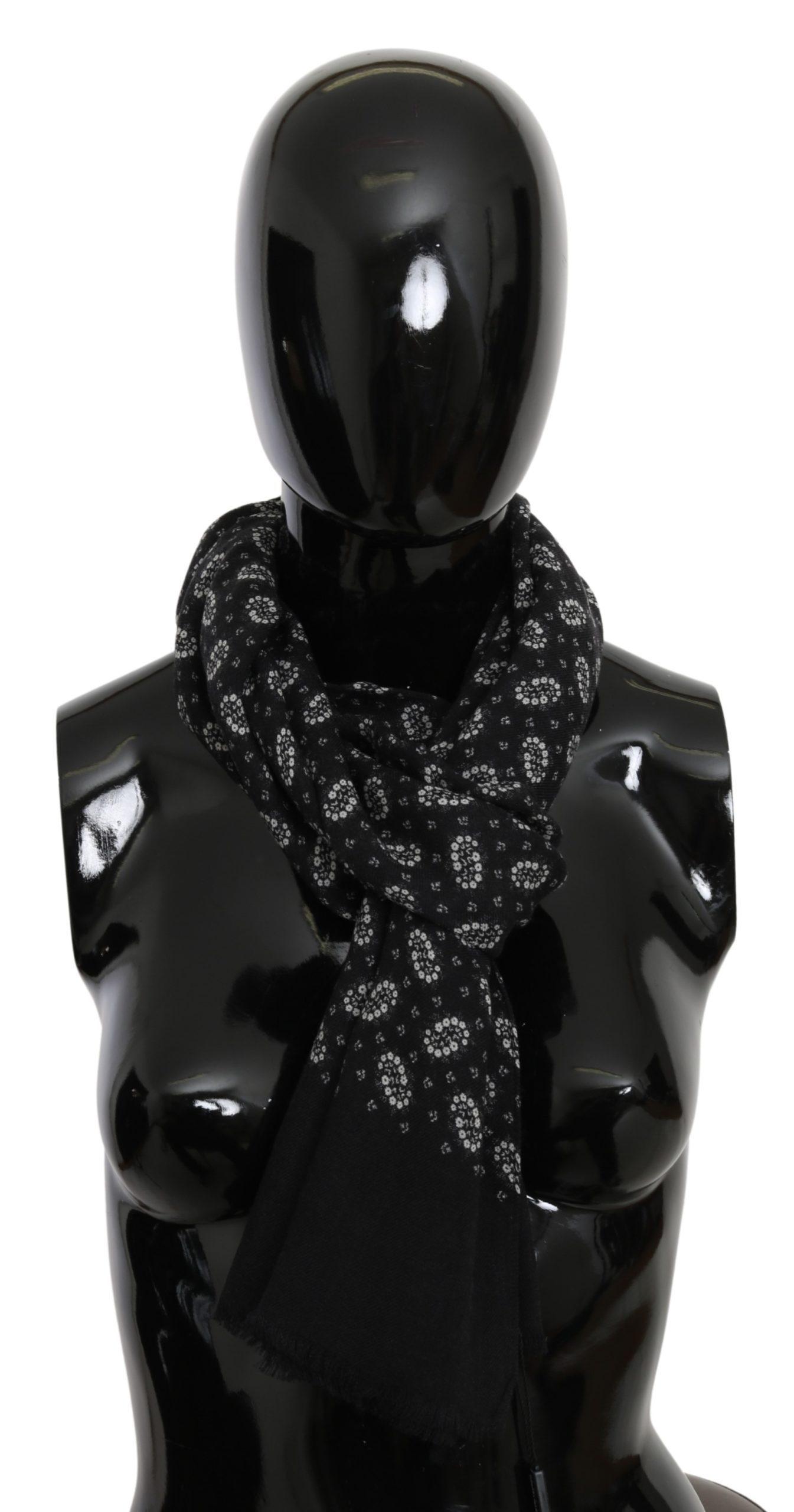 Dolce & Gabbana Men's Floral Fringe Wrap Cashmere Scarf Black MS1705BG