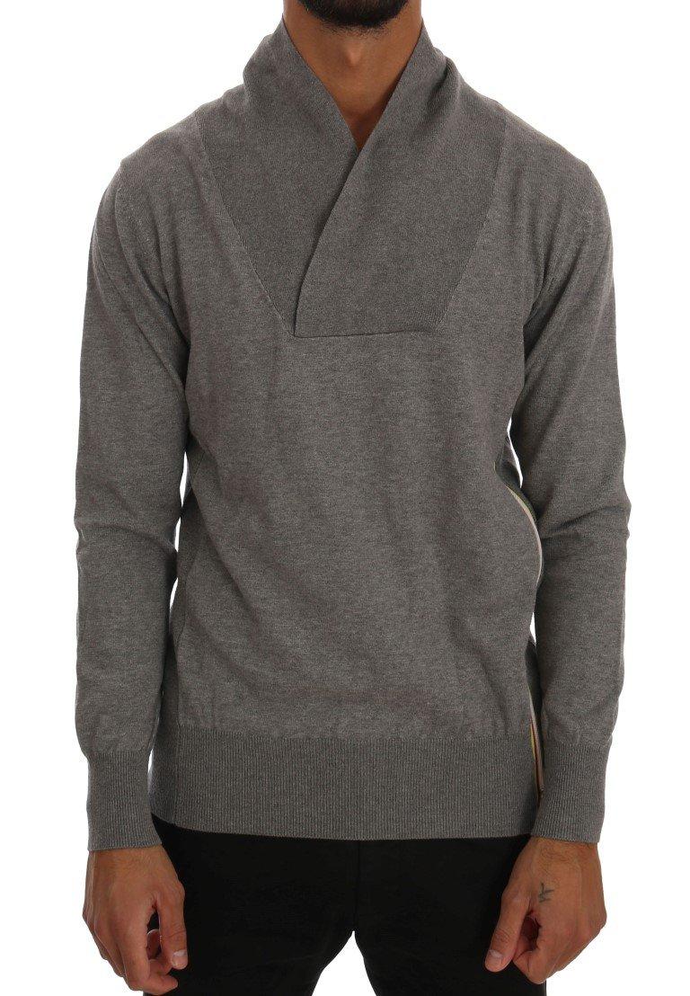 Daniele Alessandrini Men's Cotton Pullover Sweater Gray TSH1353 - IT46 | S