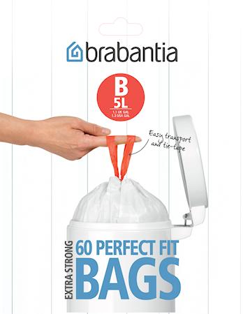 Avfallspåsar B, 5Ltr [Dispenser Pack med 60 påsar] White