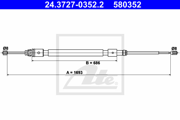 Käsijarruvaijeri ATE 24.3727-0352.2