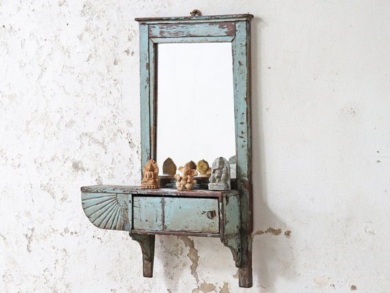 Painted Wall Mirror Blue