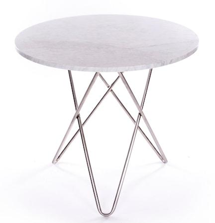 Dining O-table - Vit marmor, krom underrede