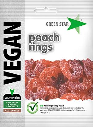 Green Star Vegan Peach Rings 80g