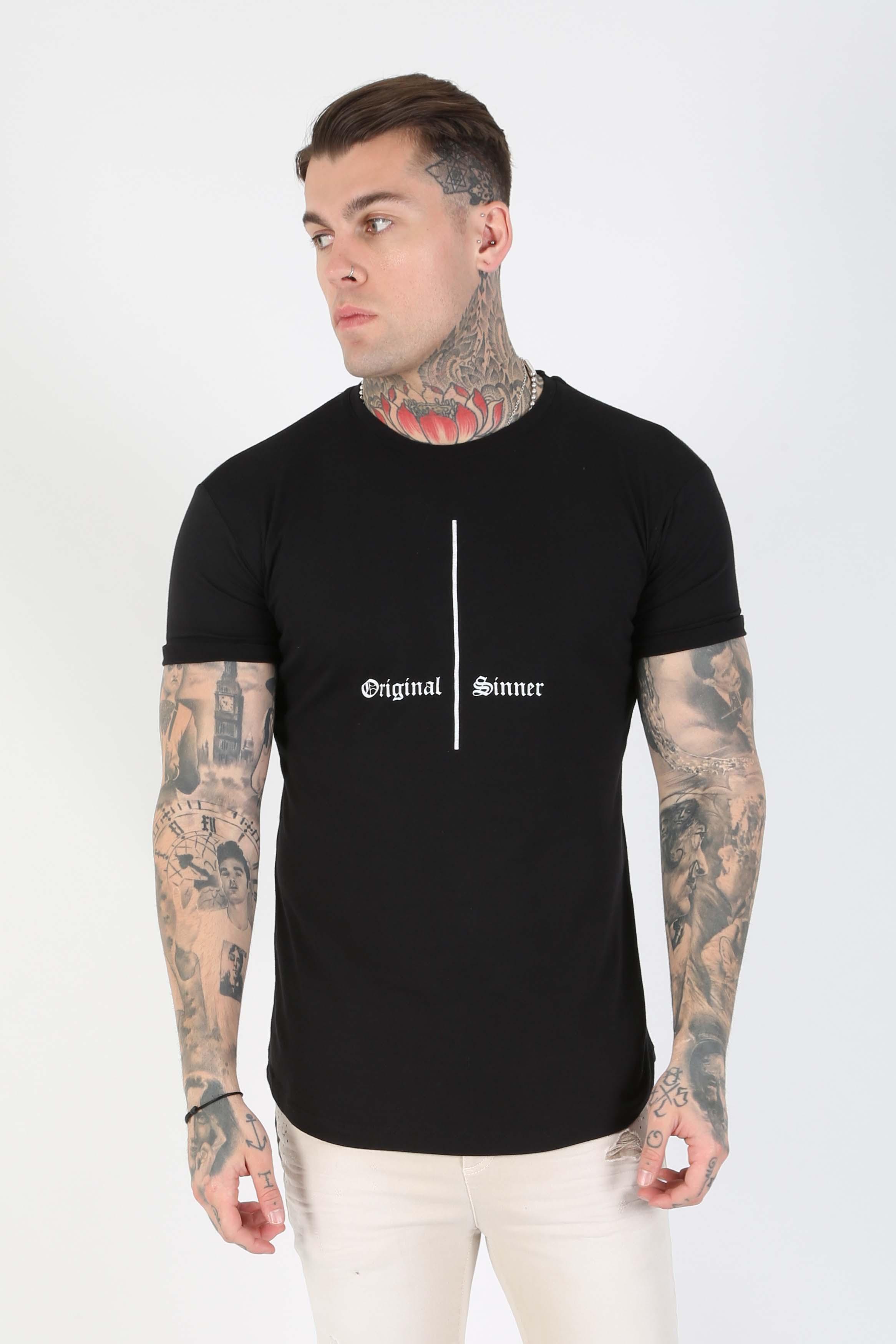 Cruci Print Fitted Men's T-Shirt - Black, Medium