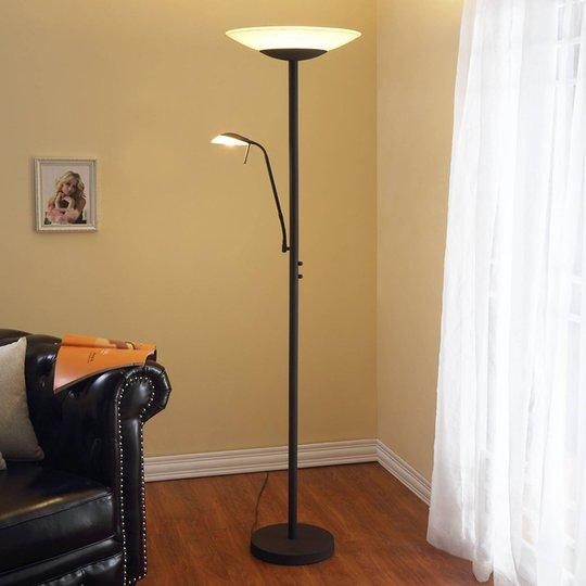 LED-uplight Ragna med leselampe, antikk svart