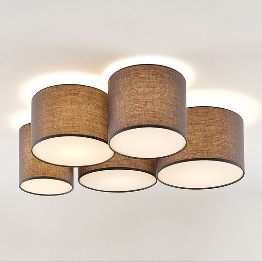 Lindby Laurenz -kattovalo, 5-lamp. 83 cm harmaa