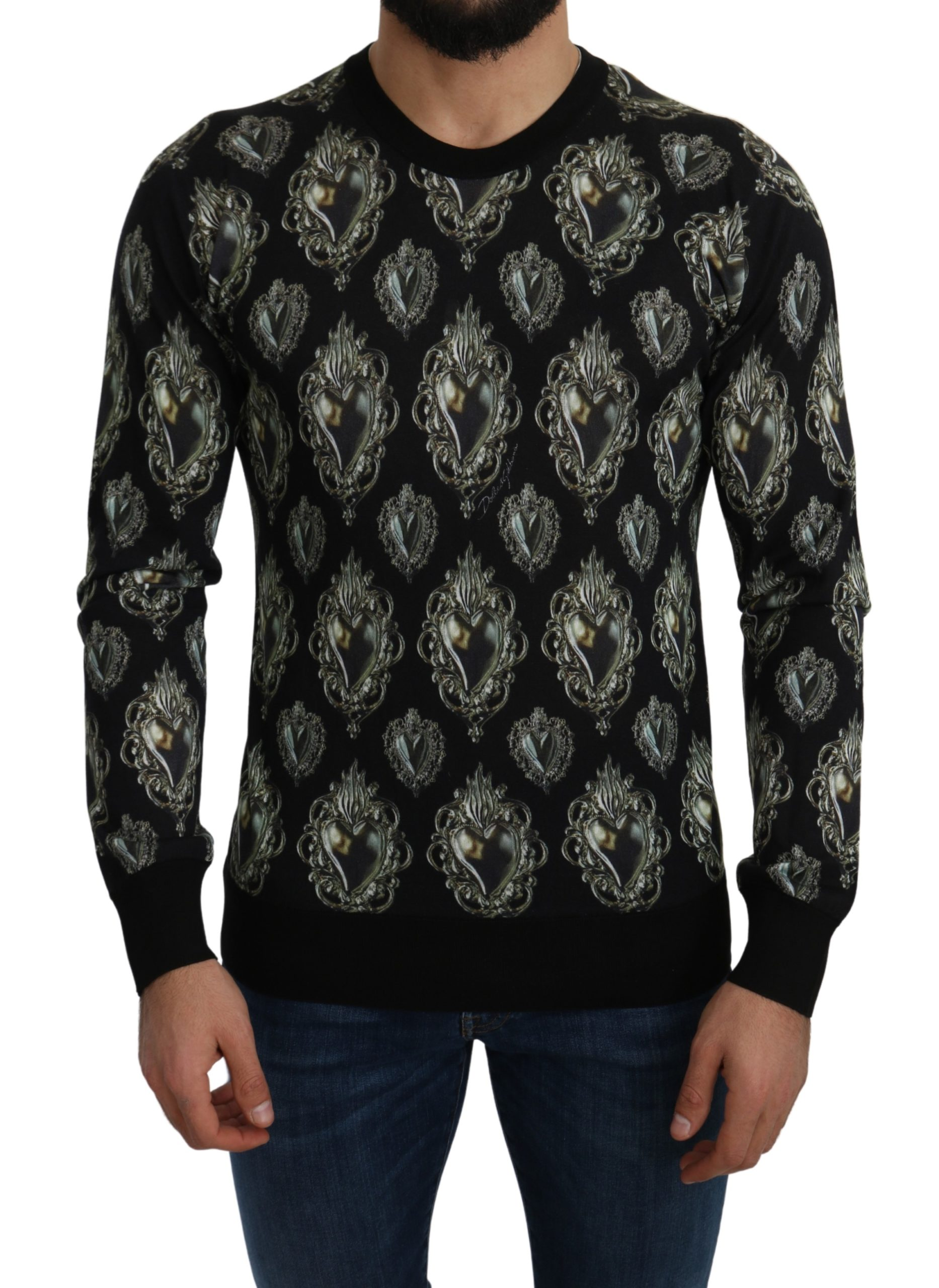 Dolce & Gabbana Women's Silk Heart Pullover Sweater Black TSH5151 - IT52   XL