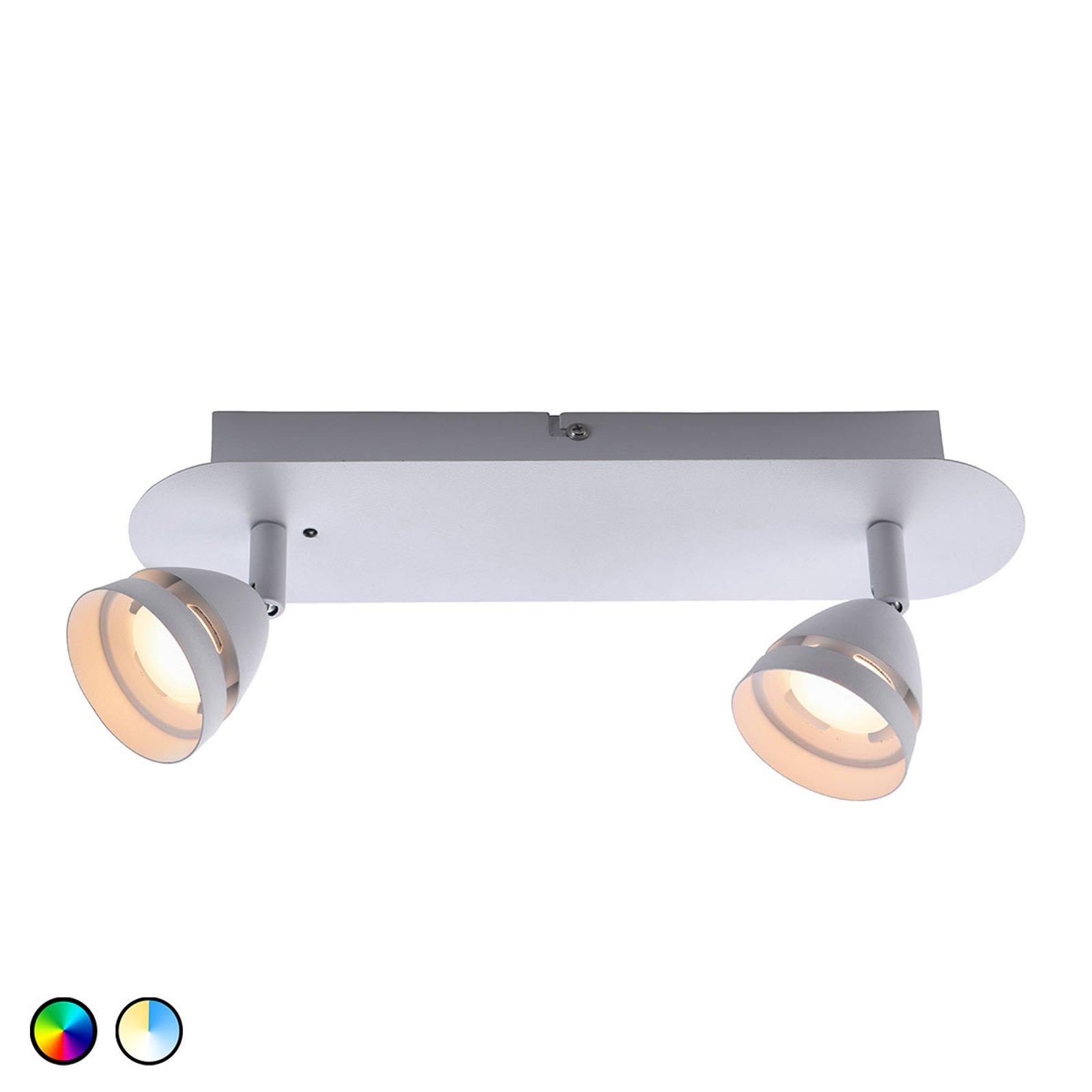 Trio WiZ Gemini LED-taklampe, 2 lys, hvit