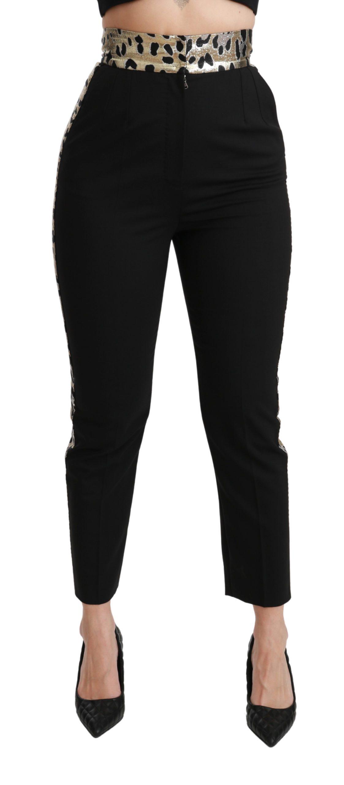 Dolce & Gabbana Women's Cropped Skinny High Waist Trouser Black PAN70940 - IT40|S