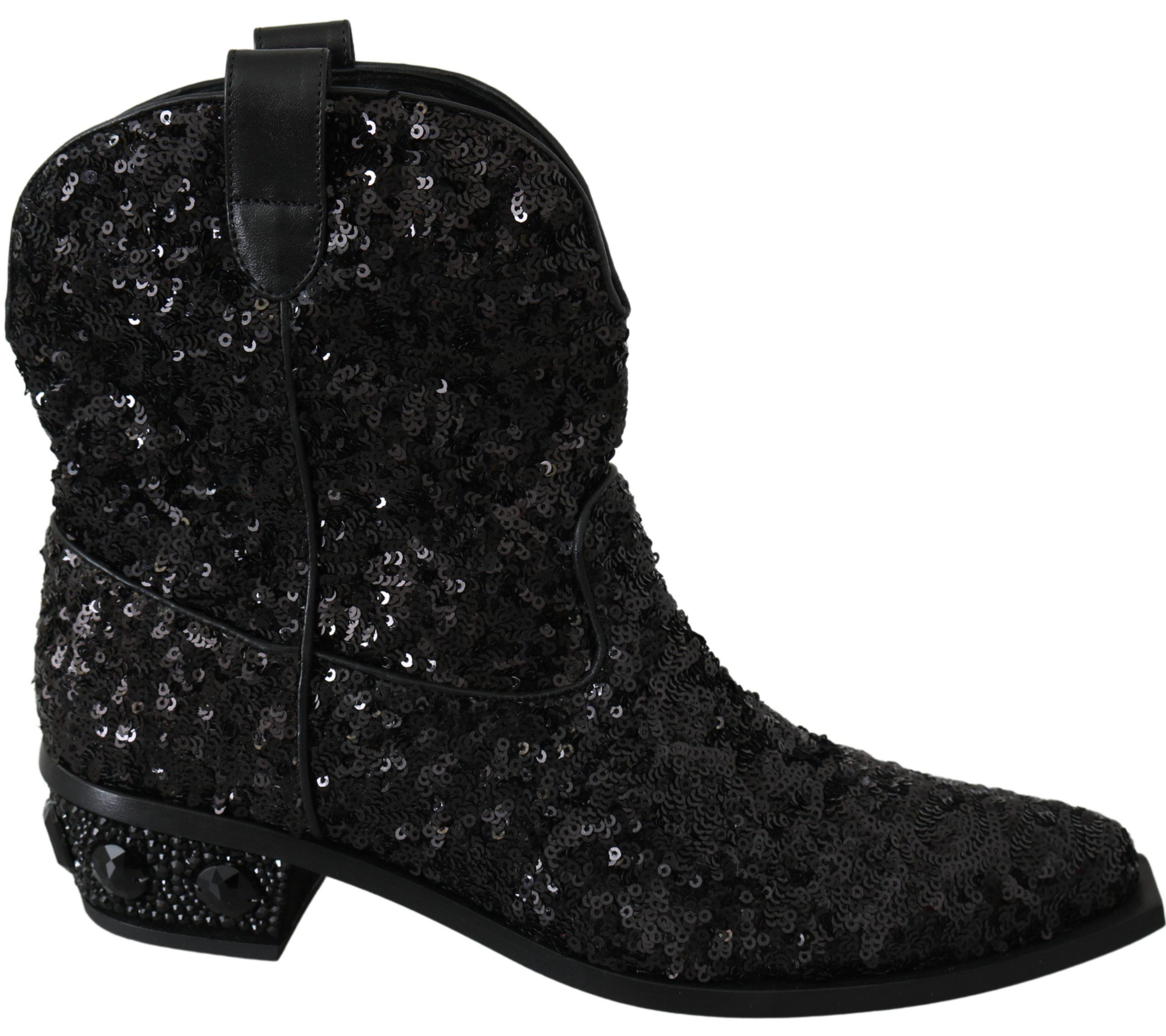 Black Sequined Boots Cowboy Shoes - EU37/US6.5