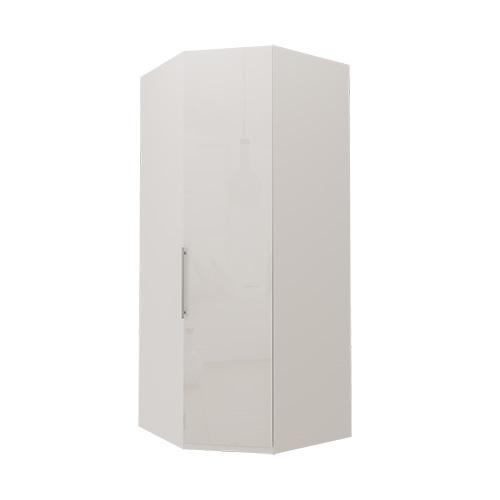 Hjørne Atlanta garderobe 216 cm, Hvitt glass, Hvit