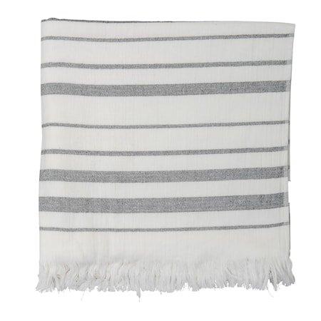 Håndduk m. frynser Hvit/Grå Bomull 150xW90