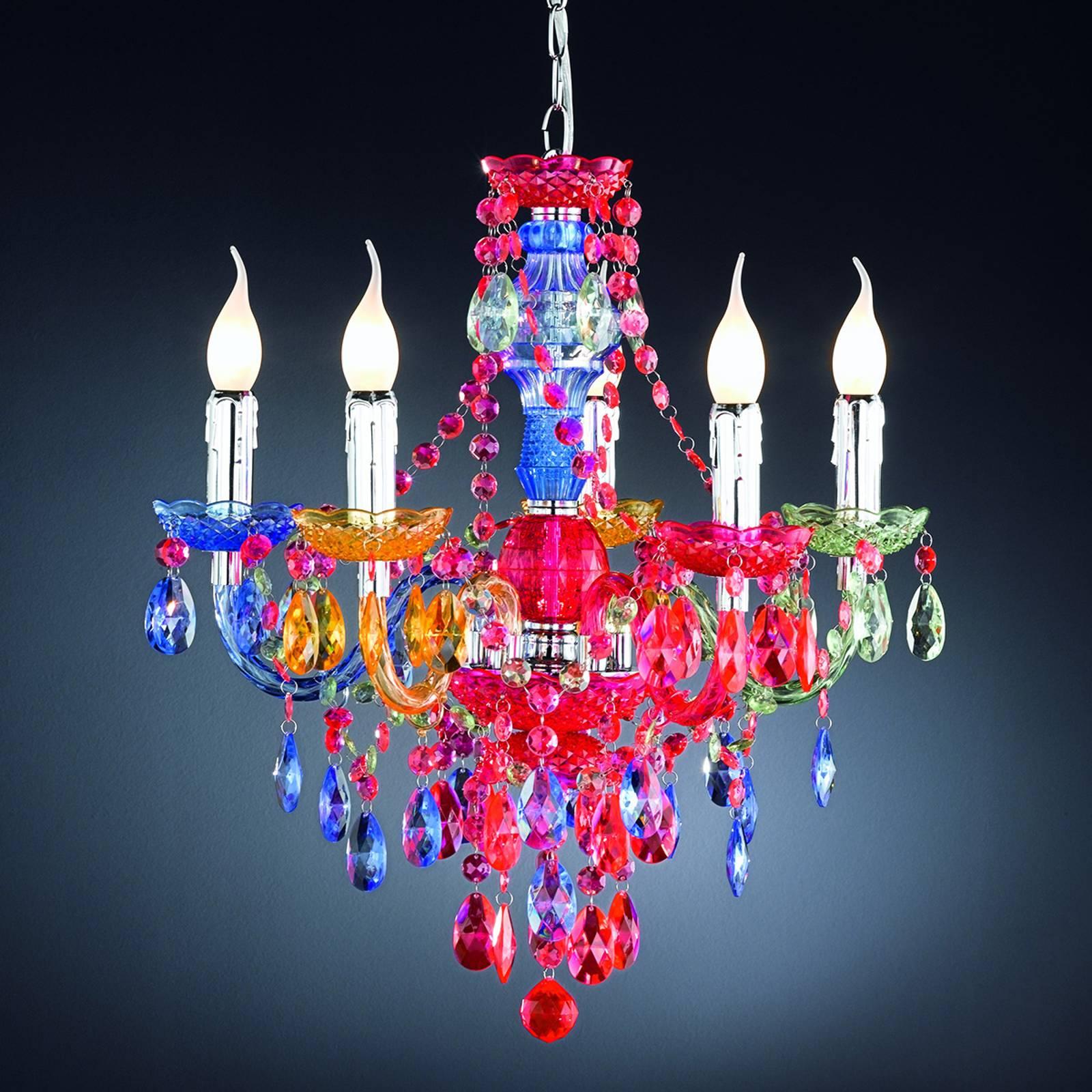 Kattokruunu Perdita 5-lamppuinen, värikäs