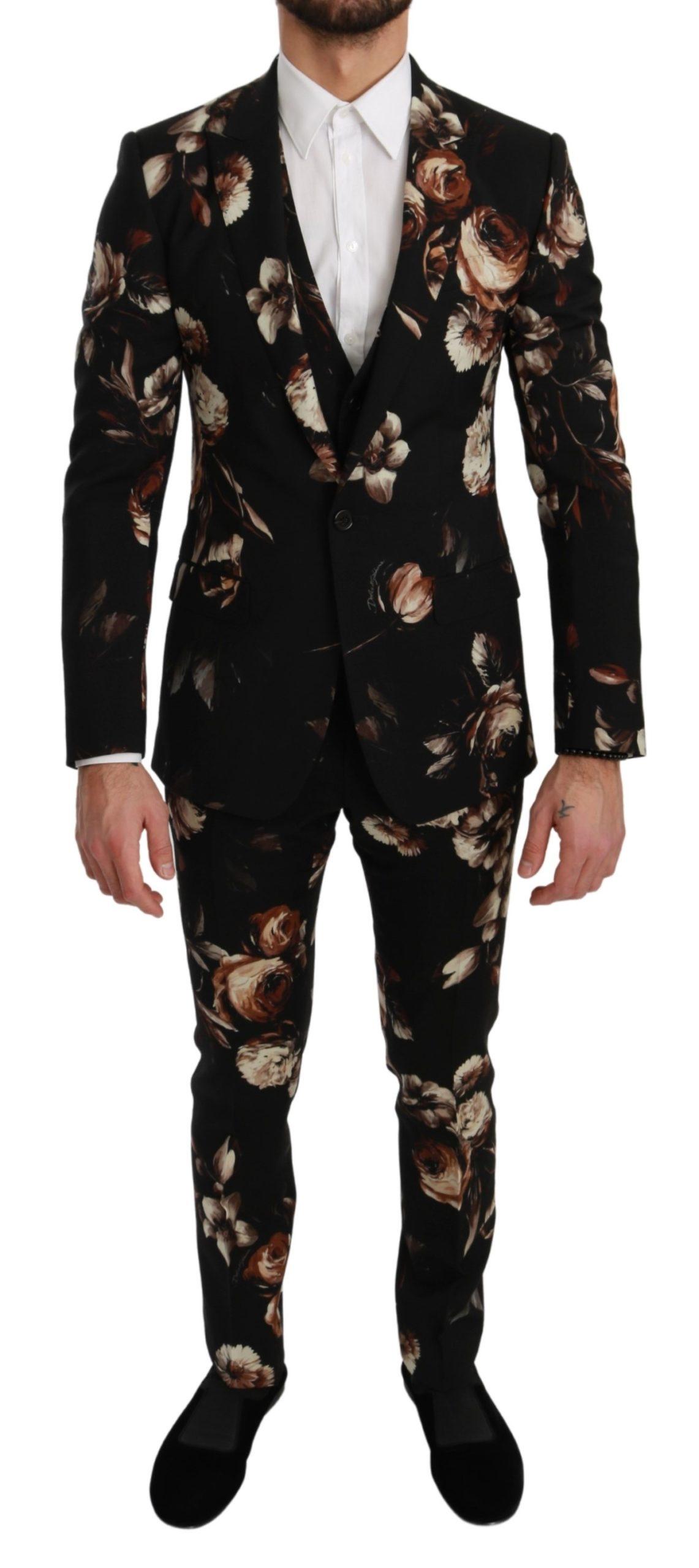 Dolce & Gabbana Men's Floral 3 Piece Slim Fit MARTINI Suit Black KOS1704 - IT44 | XS
