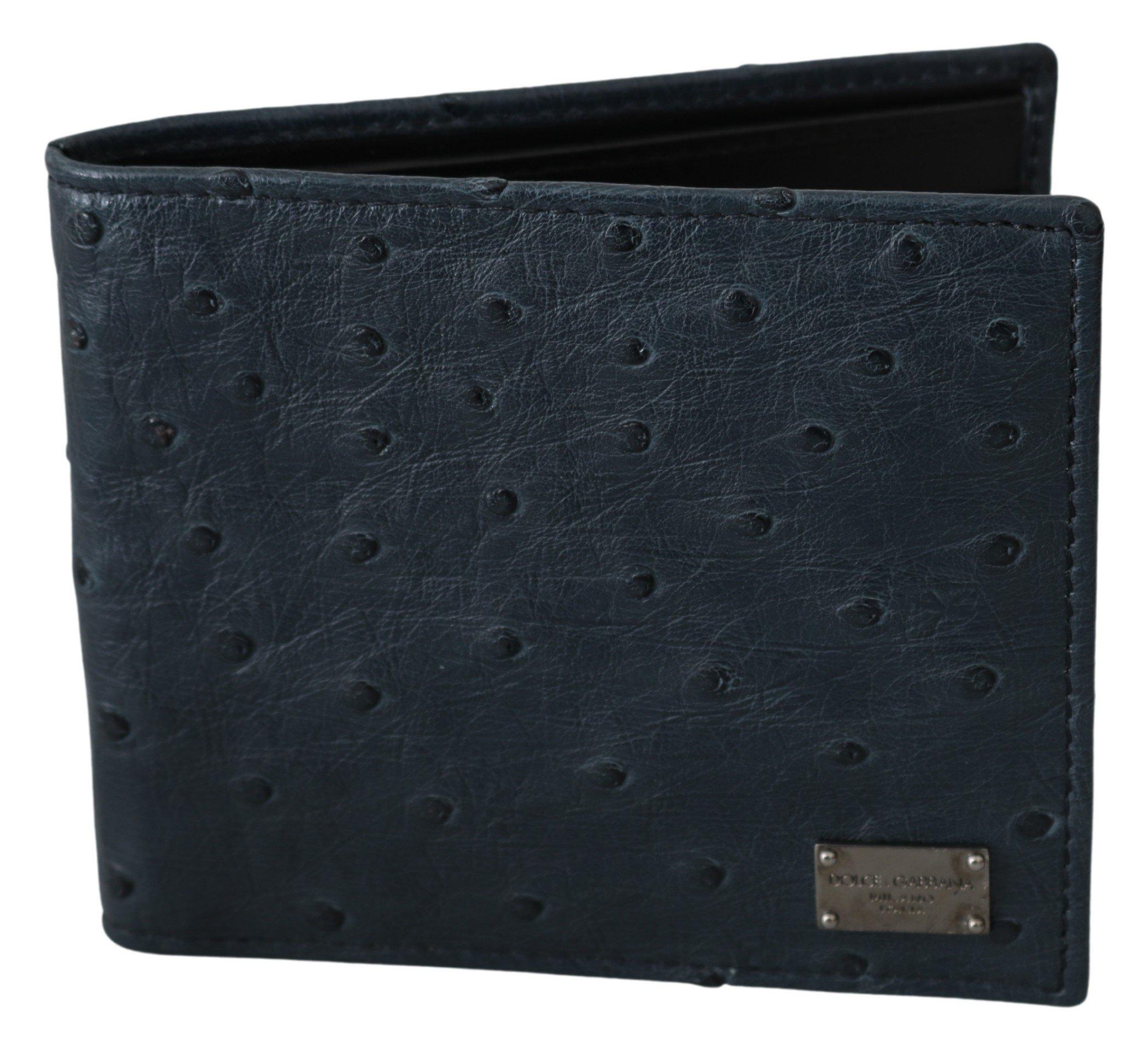 Dolce & Gabbana Men's Ostrich Leather Bifold Wallet Blue VAS9695