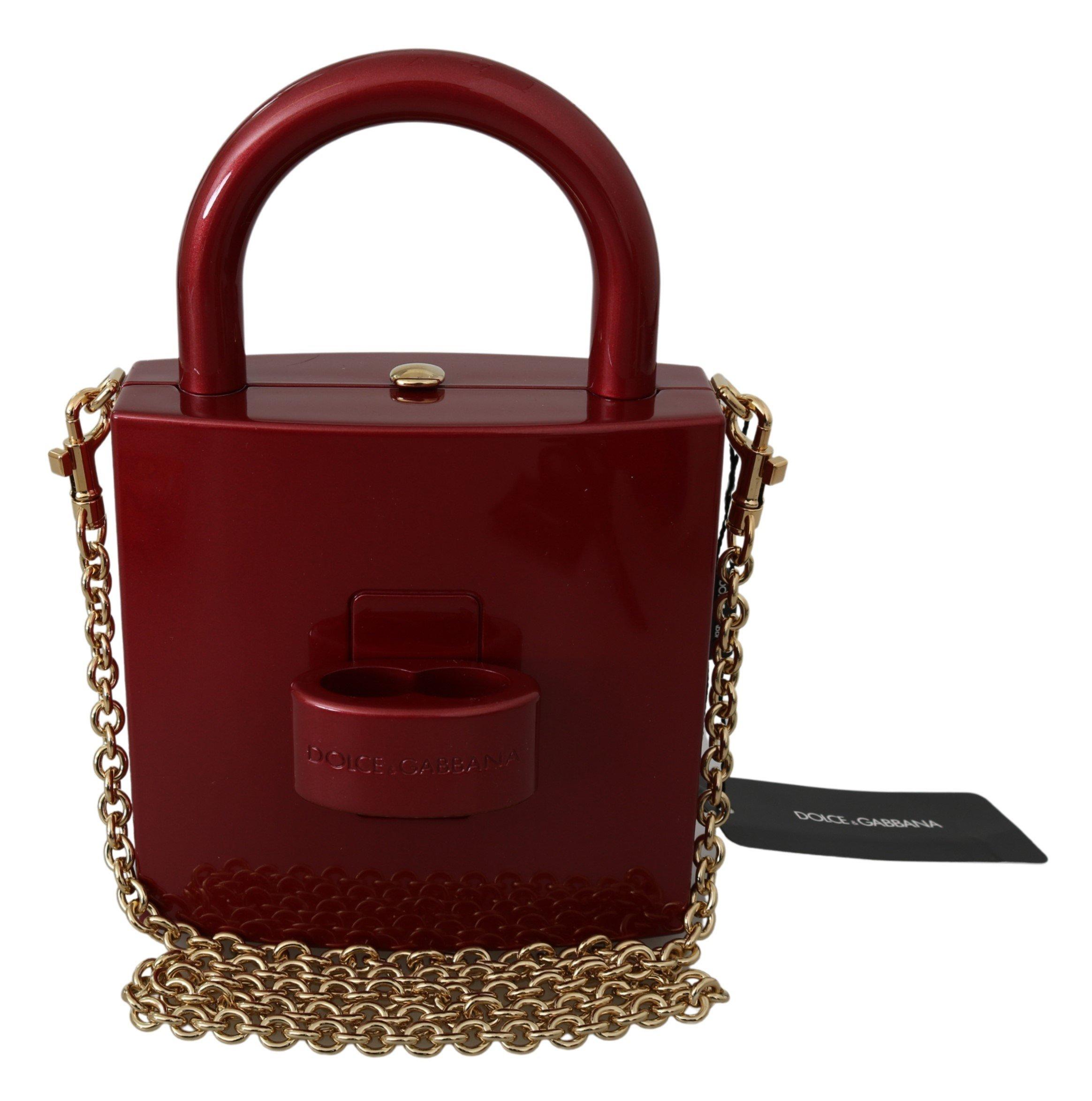 Dolce & Gabbana Women's Padlock Chain Shoulder Bag Red VAS9725