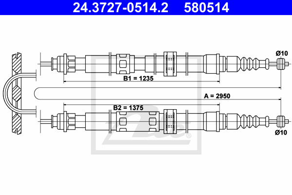 Käsijarruvaijeri ATE 24.3727-0514.2