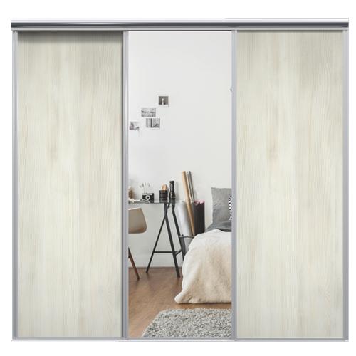 Mix Skyvedør White wood / Sølvspeil 3430 mm 3 dører