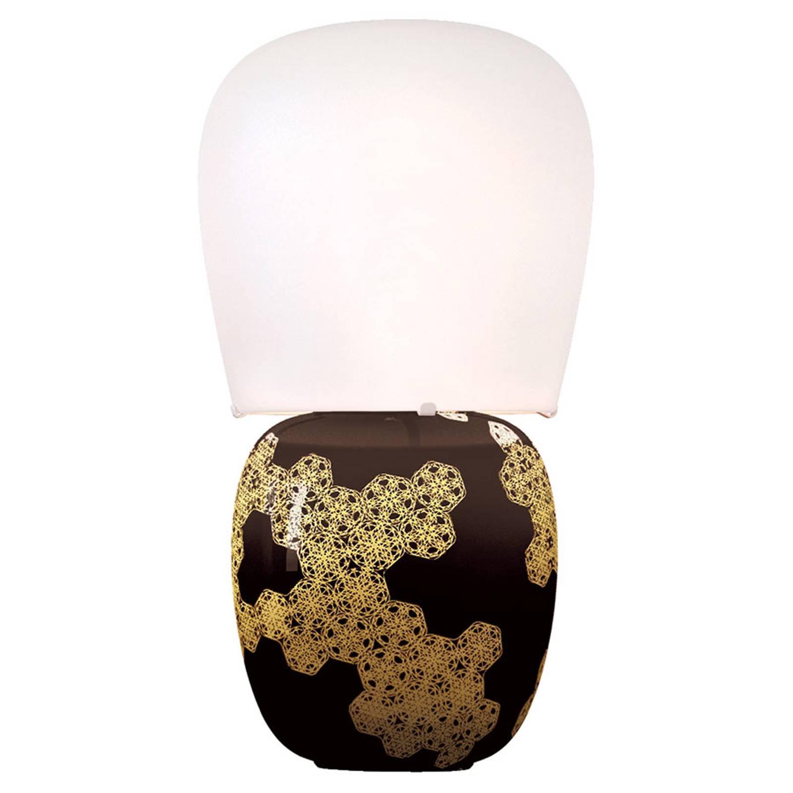 Kundalini Hive - keraaminen pöytälamppu, musta