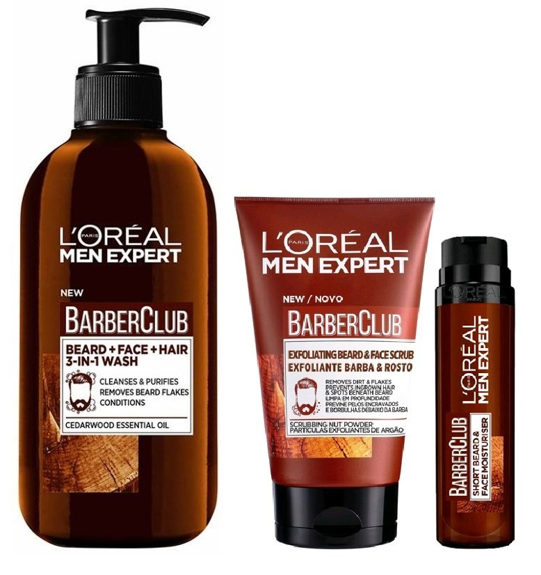 L'Oréal - Men Expert Barber Club Beard and Face Wash 200 ml + Face Moisturizer 50 ml + Beard & Face Scrub 100 ml