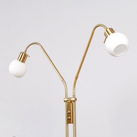 2-lamppuinen LED-lattiavalaisin Elaina, messinki