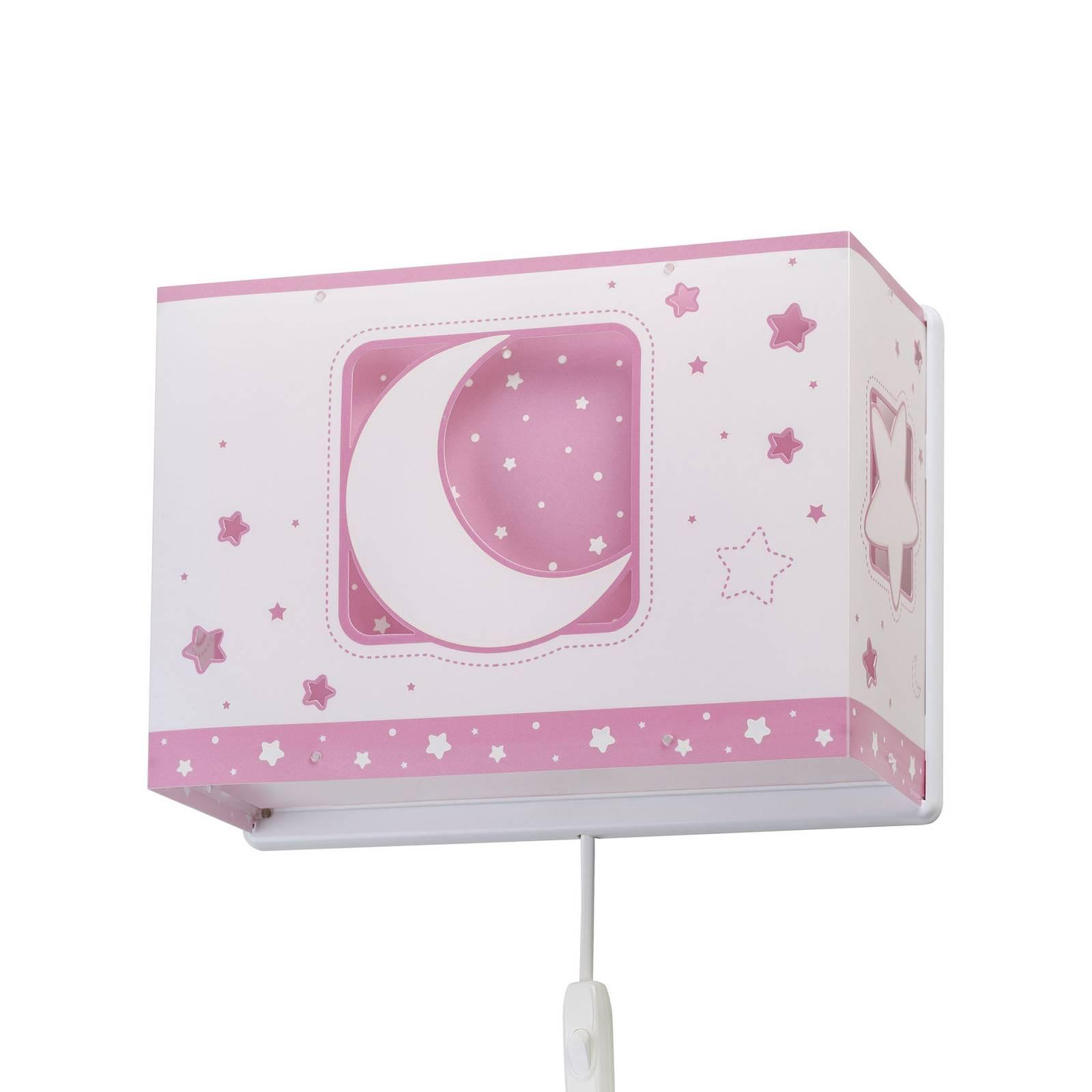Lastenhuoneen seinälamppu Moonlight pistoke roosa