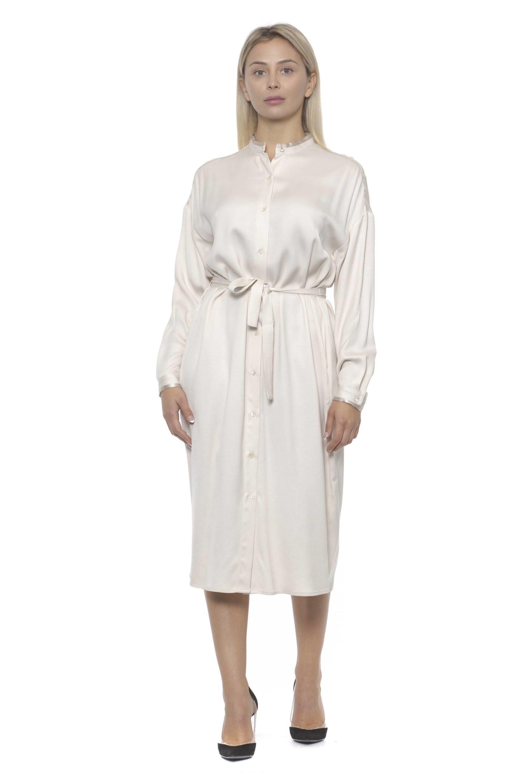 Peserico Women's Bianco Dress Beige PE1383156 - IT42 | S
