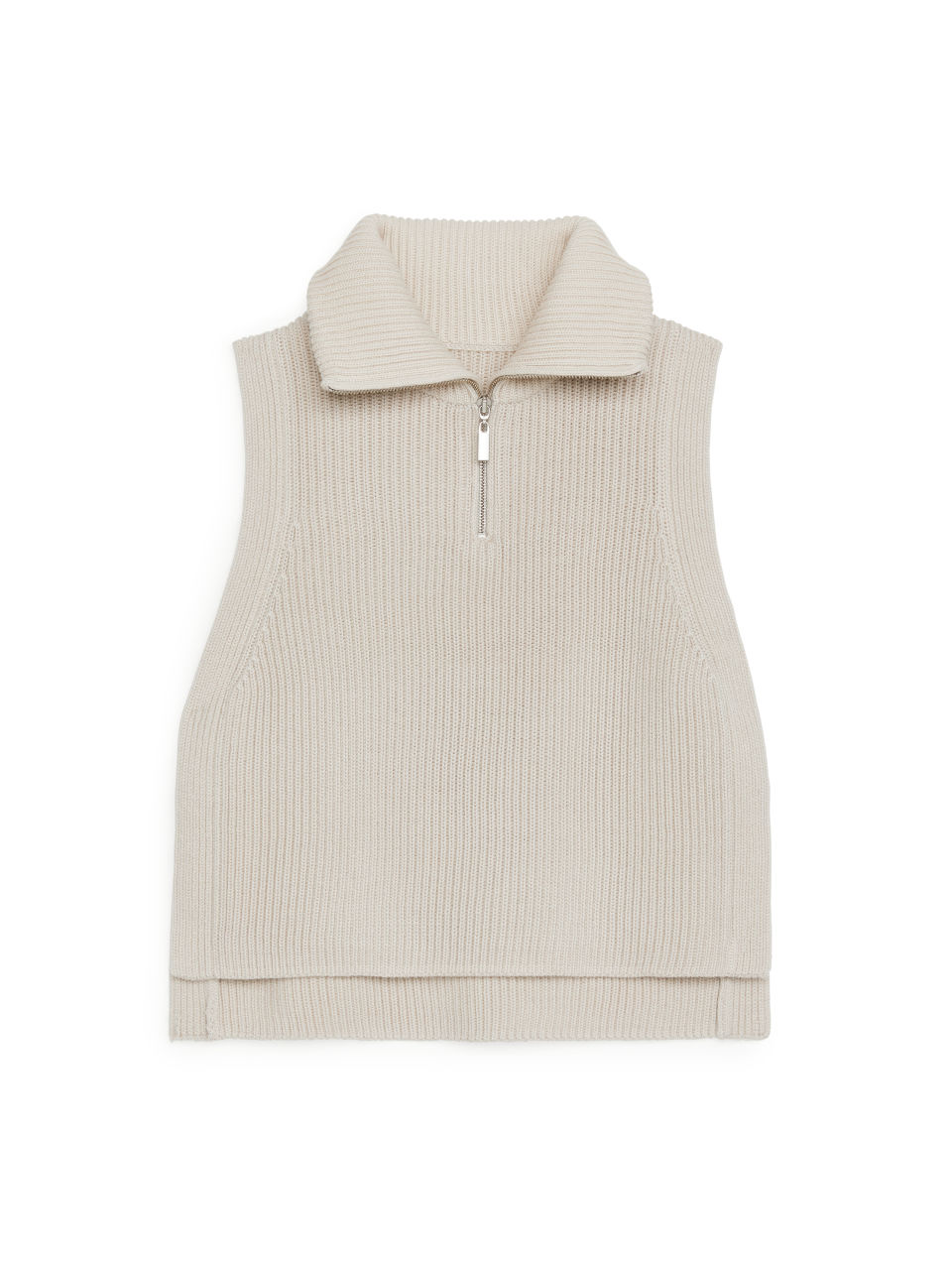 Half-Zip Wool Blend Bib - Beige
