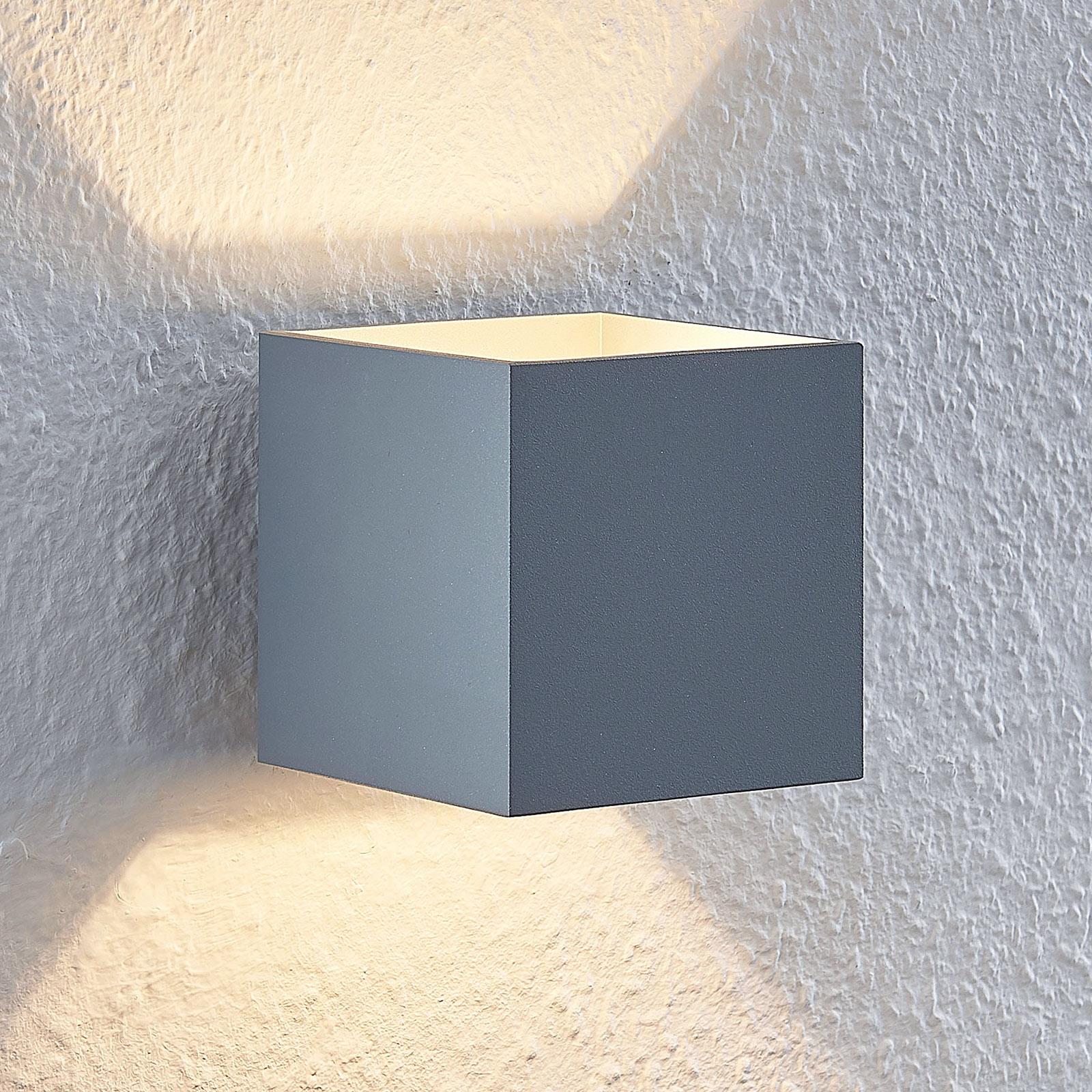 Lindby Mirza alumiiniseinävalaisin kulmikas harmaa