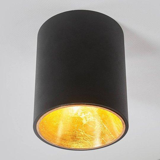 Svart og gyllen LED-taklampe Juma, rund
