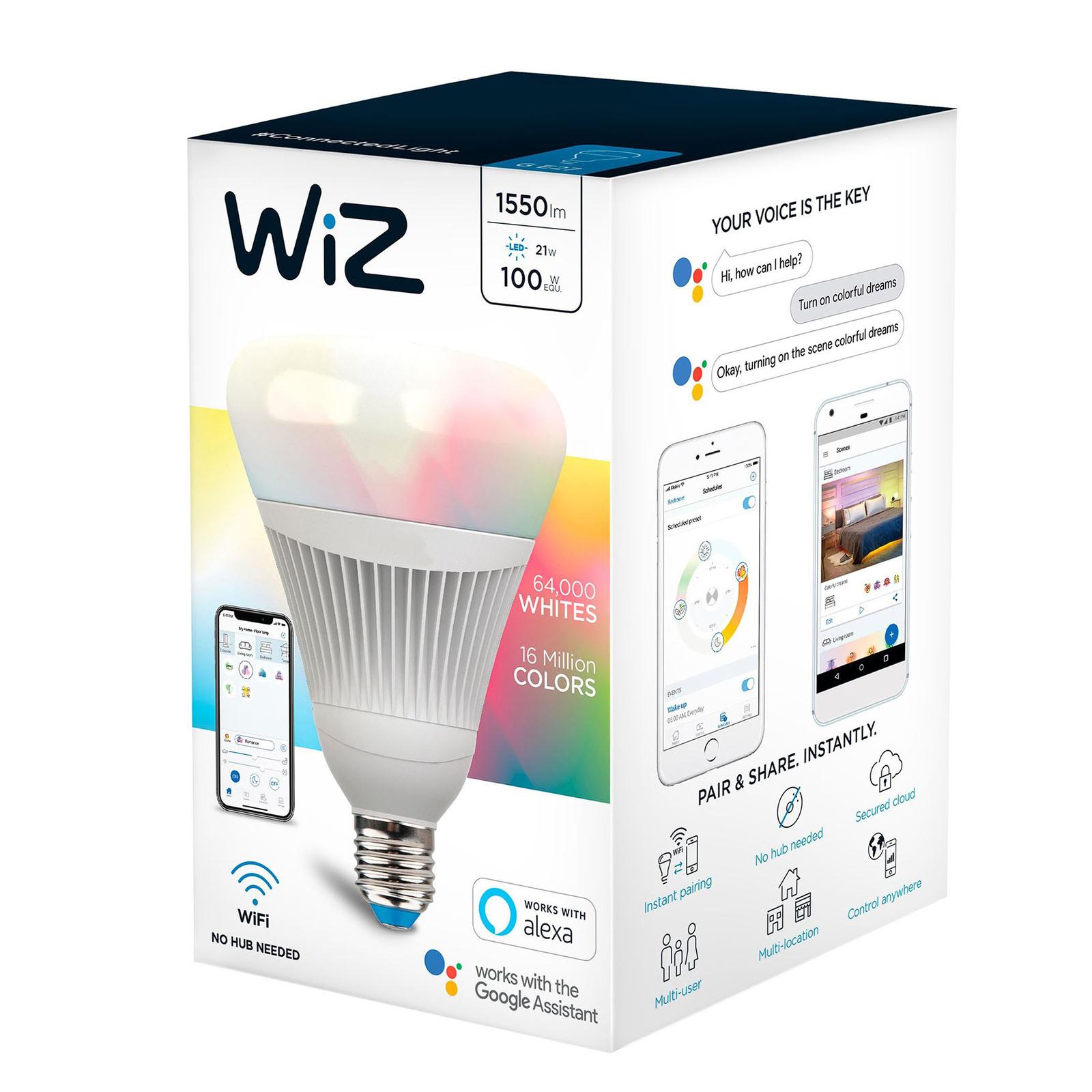 WiZ E27 LED-lamppu matta Ø12cm 21W RGBW 2 200-6500